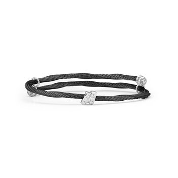 Black Cable Flex Size Bracelet with Diamonds