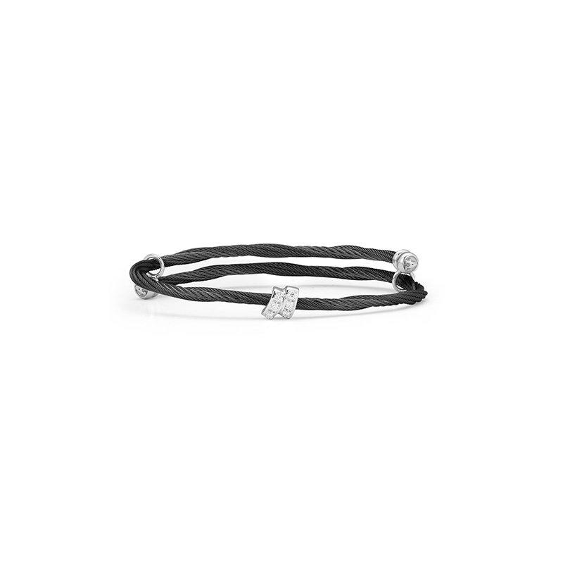 ALOR Black Cable Flex Size Bracelet with Diamonds