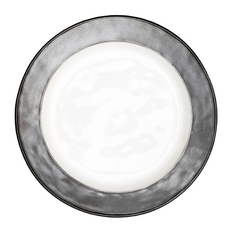 Juliska Emerson White & Pewter Dinner Plate