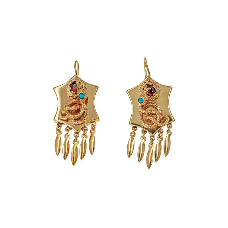 Estate Radcliffe Turquoise & Garnet Snake Earrings