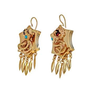 Turquoise & Garnet Snake Earrings