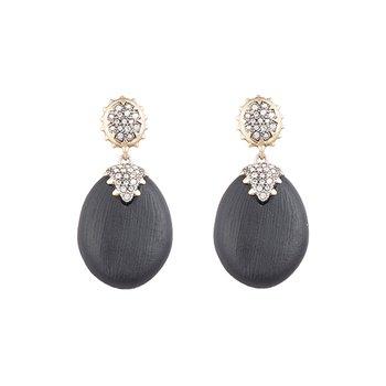Black Oval Drop Earrings