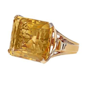 Emerald Cut Citrine Ring