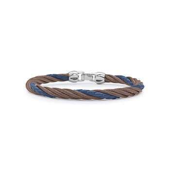 Bronze Cable & Blue Leather Modern Twist Bracelet