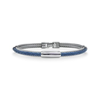 Grey Cable & Blue Leather Bracelet