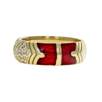 Enamel & Diamond Ring
