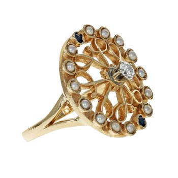 Pearl, Sapphire, & Diamond Circle Ring