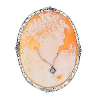 Cameo Diamond Necklace Brooch