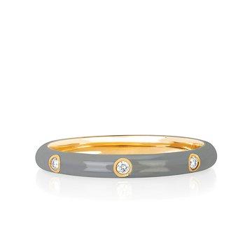 3 Diamond Grey Enamel Stack Ring