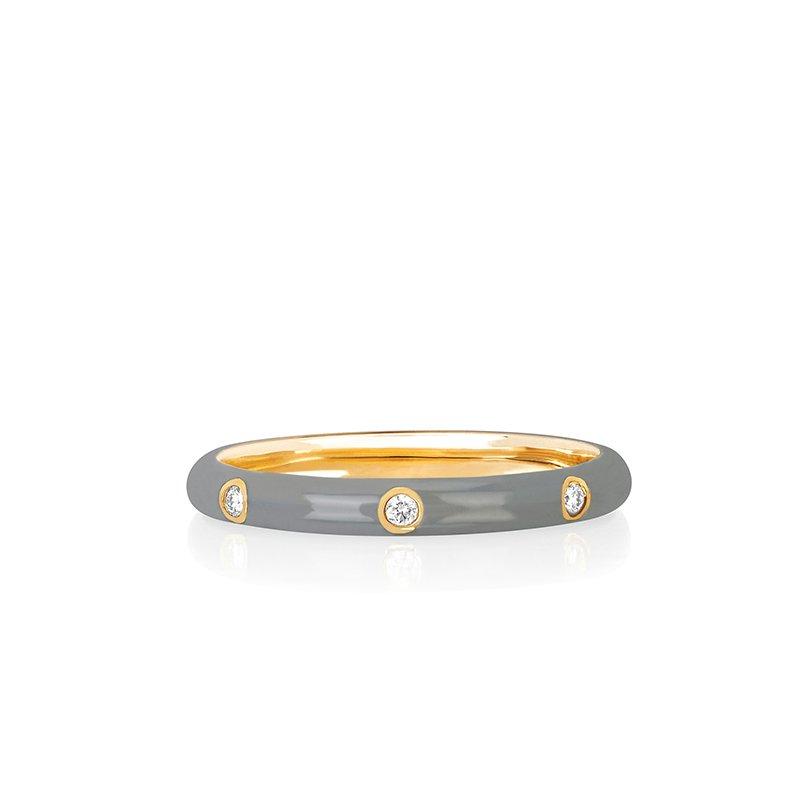 EF Collection 3 Diamond Grey Enamel Stack Ring