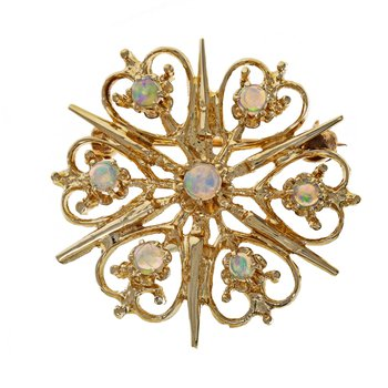 Opal Heart Starburst Pin