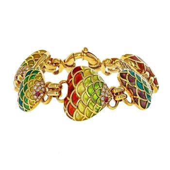 Plique-A-Jour Enamel Bracelet