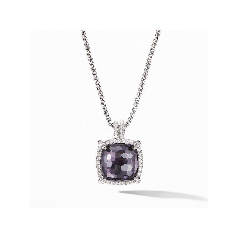 David Yurman Chatelaine Pav?ezel Pendant Necklace with Black Orchid