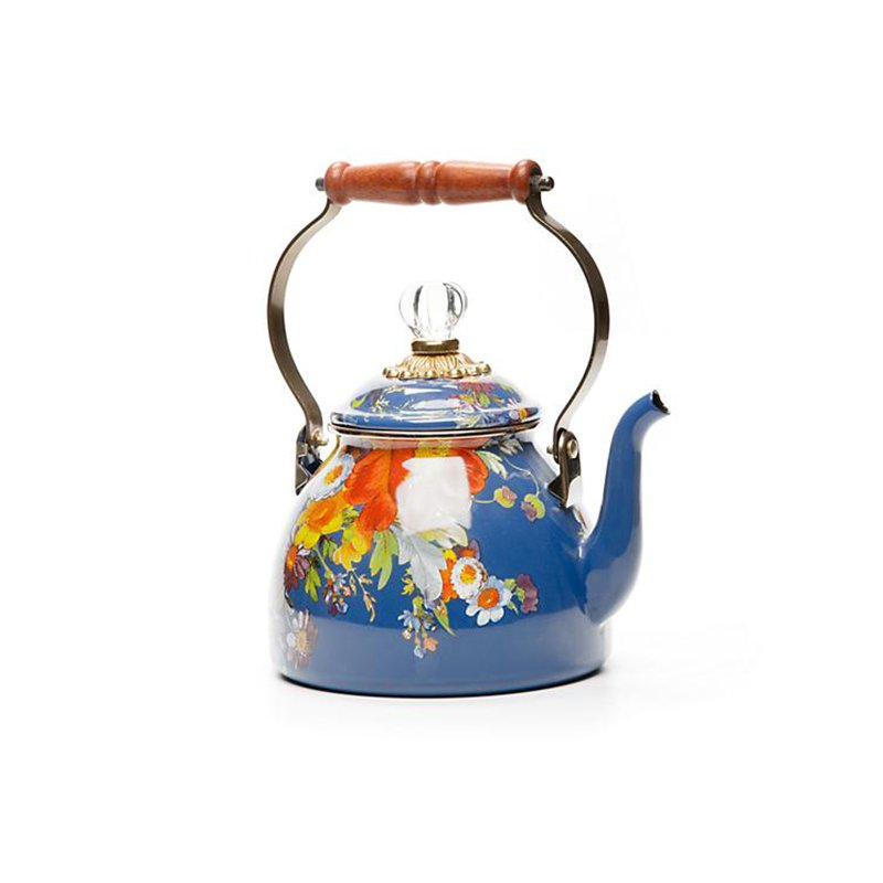 Mackenzie-Childs Flower Market 2 Quart Tea Kettle-Lapis
