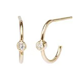 Thin Diamond Huggie Hoops