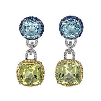 Topaz, Sapphire & Diamond Drop Earrings