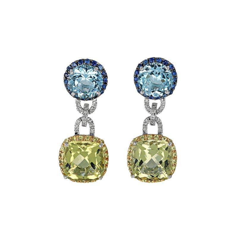 Estate Radcliffe Topaz, Sapphire & Diamond Drop Earrings