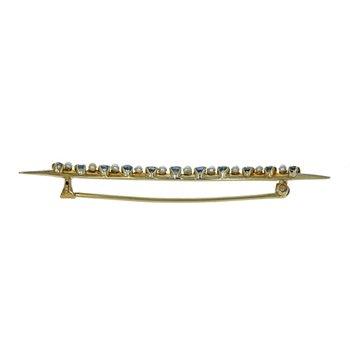 Sapphire & Pearl Crescent Pin