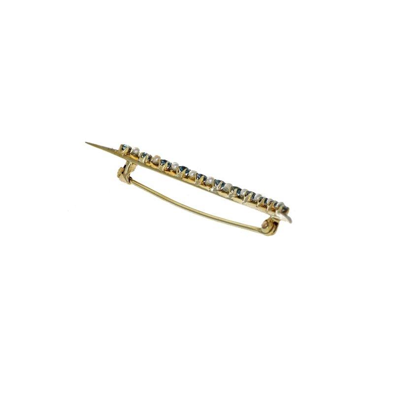 Estate Radcliffe Sapphire & Pearl Crescent Pin