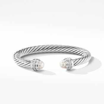 Cable Bracelet with Pearls and Diamonds