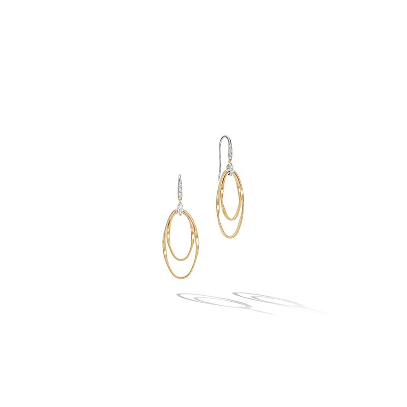Marco Bicego Marrakech Onde Yellow Gold and Diamond Concentric Hook Earring