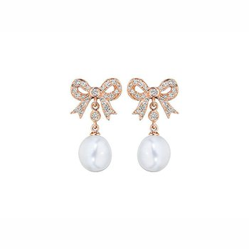 Diamond Bow and Pearl Earrings