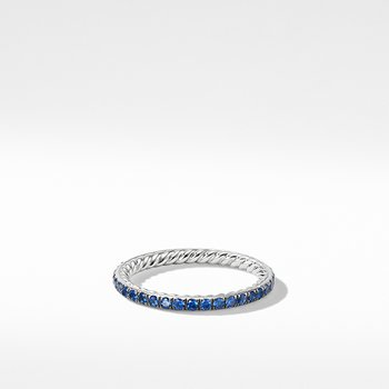 DY Eden Band Ring in Platinum with Blue Sapphires