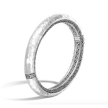 Classic Chain Hammered Hinged Bangle