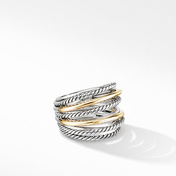Crossover Wide Ring with 18K Yellow Gold