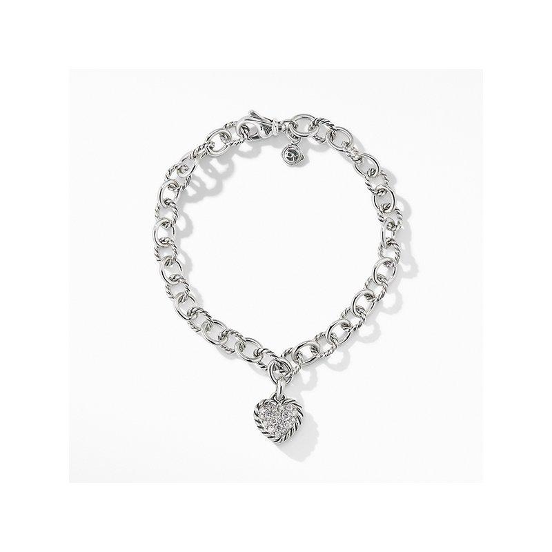 David Yurman Cable Cookie Classic Heart Charm Bracelet with Diamonds