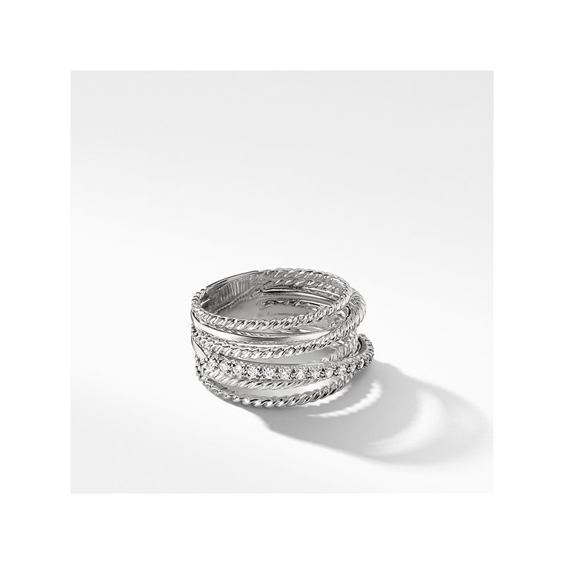 David Yurman The Crossover Collection Wide Ring with Diamonds