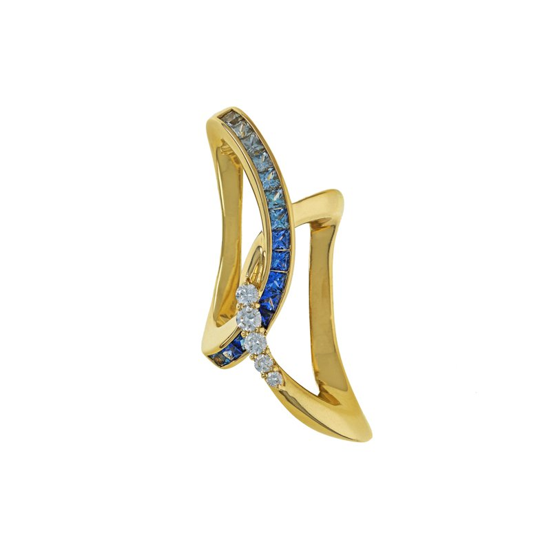 Estate Radcliffe Sapphire & Diamond Slide Pendant