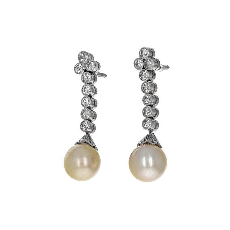 Estate Radcliffe Diamond & Pearl Drop Earrings