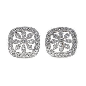 Diamond Filigree Flower Earrings