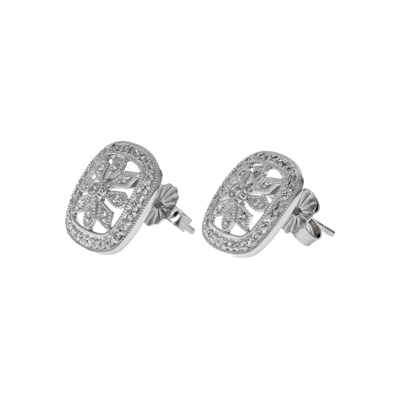 Estate Radcliffe Diamond Filigree Flower Earrings