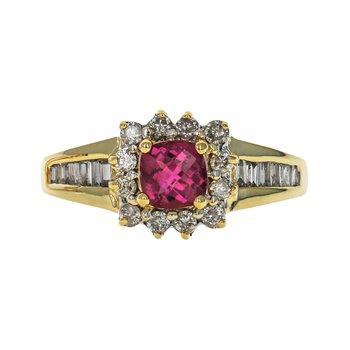 Diamond Halo & Tourmaline Ring