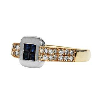 Sapphire & Diamond Two-Tone Ring