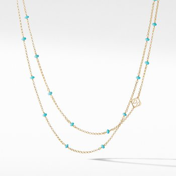 Cable Collectibles Bead and Chain Necklace in 18K Yellow Gold with Turquoise