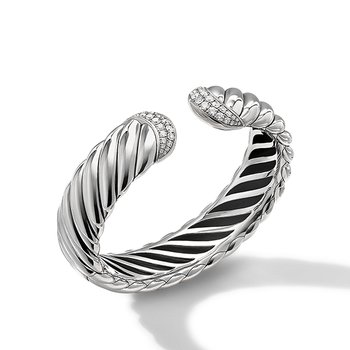 Sculpted Cable Cuff Bracelet with Pave Diamonds