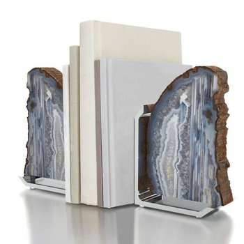 Fim Bookends, Natural Agate