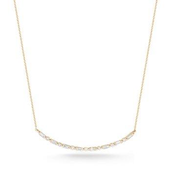 Sadie Pearl Baguette Long Bar Necklace