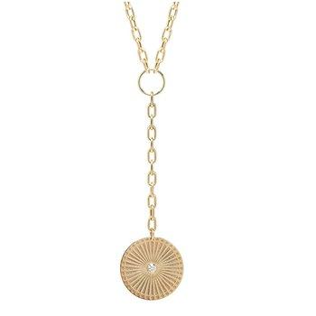 Large Sunbeam Diamond Bezel Medallion on Medium Oval Link Lariat