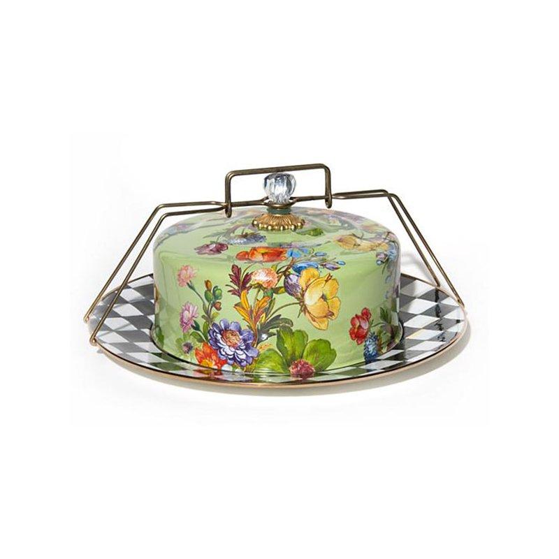 Mackenzie-Childs Flower Market Cake Carrier, Green