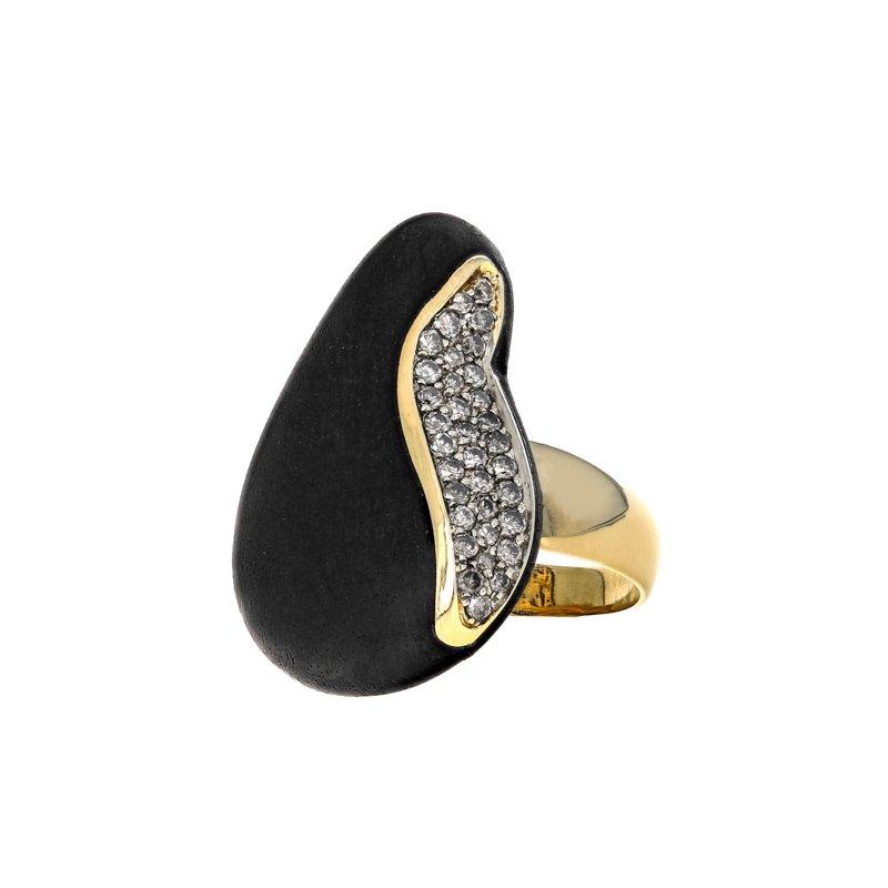 Estate Roberto Coin Capri Plus Diamond & Ebony Ring