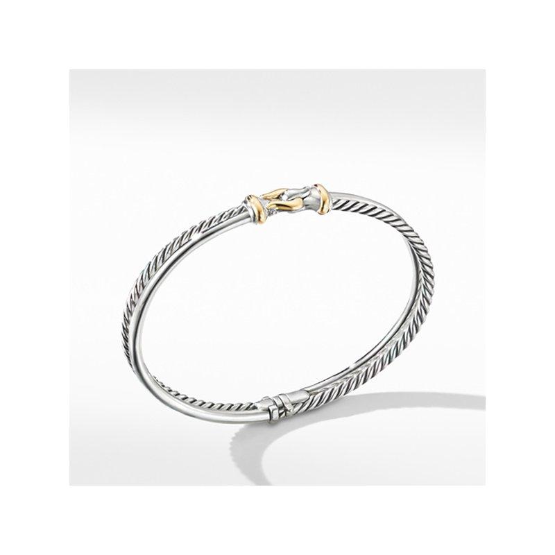 David Yurman Two-Row Buckle Bracelet with 18K Yellow Gold