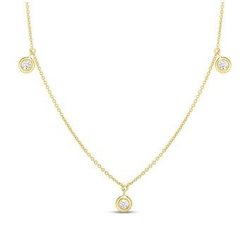 Three Diamond Drop Necklace