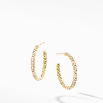 Small Hoop Earrings in 18K Yellow Gold with Pave Diamonds