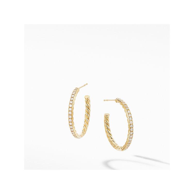 David Yurman Small Hoop Earrings in 18K Yellow Gold with Pave Diamonds