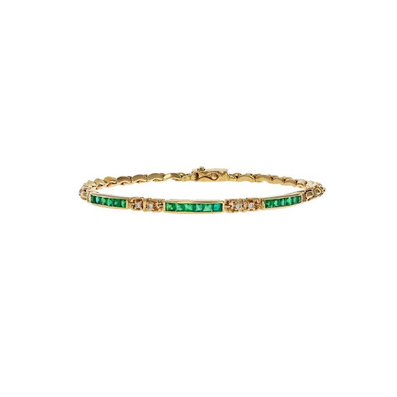 Estate Radcliffe Emerald & Diamond Link Bracelet