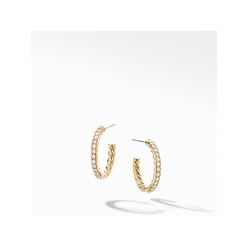 David Yurman Extra-Small Hoop Earrings in 18K Yellow Gold with Pave Diamonds
